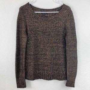 Eileen Fisher Gold Metallic Knit Crew Neck Sweater